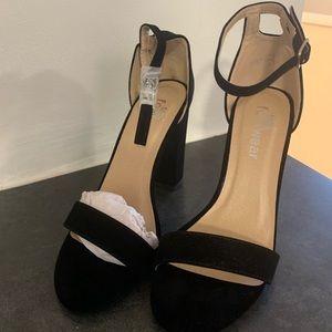 Black suede koi footwear heels